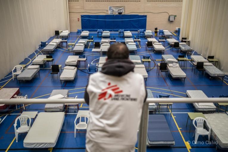 Photo d'un hopital temporaire en Espagne