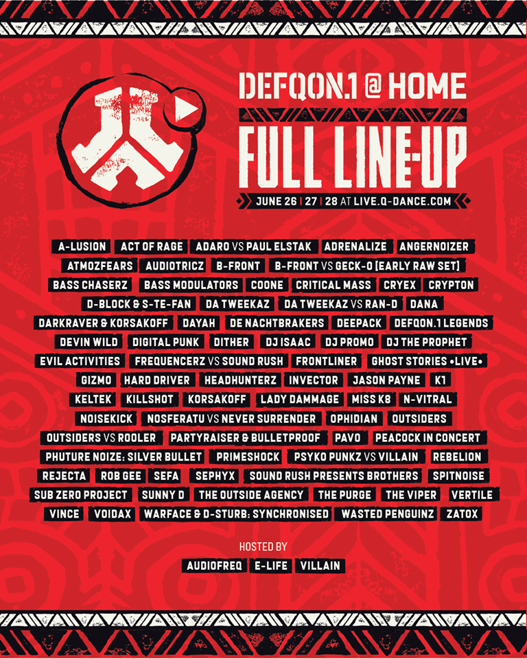 Line up du Defqon At Home