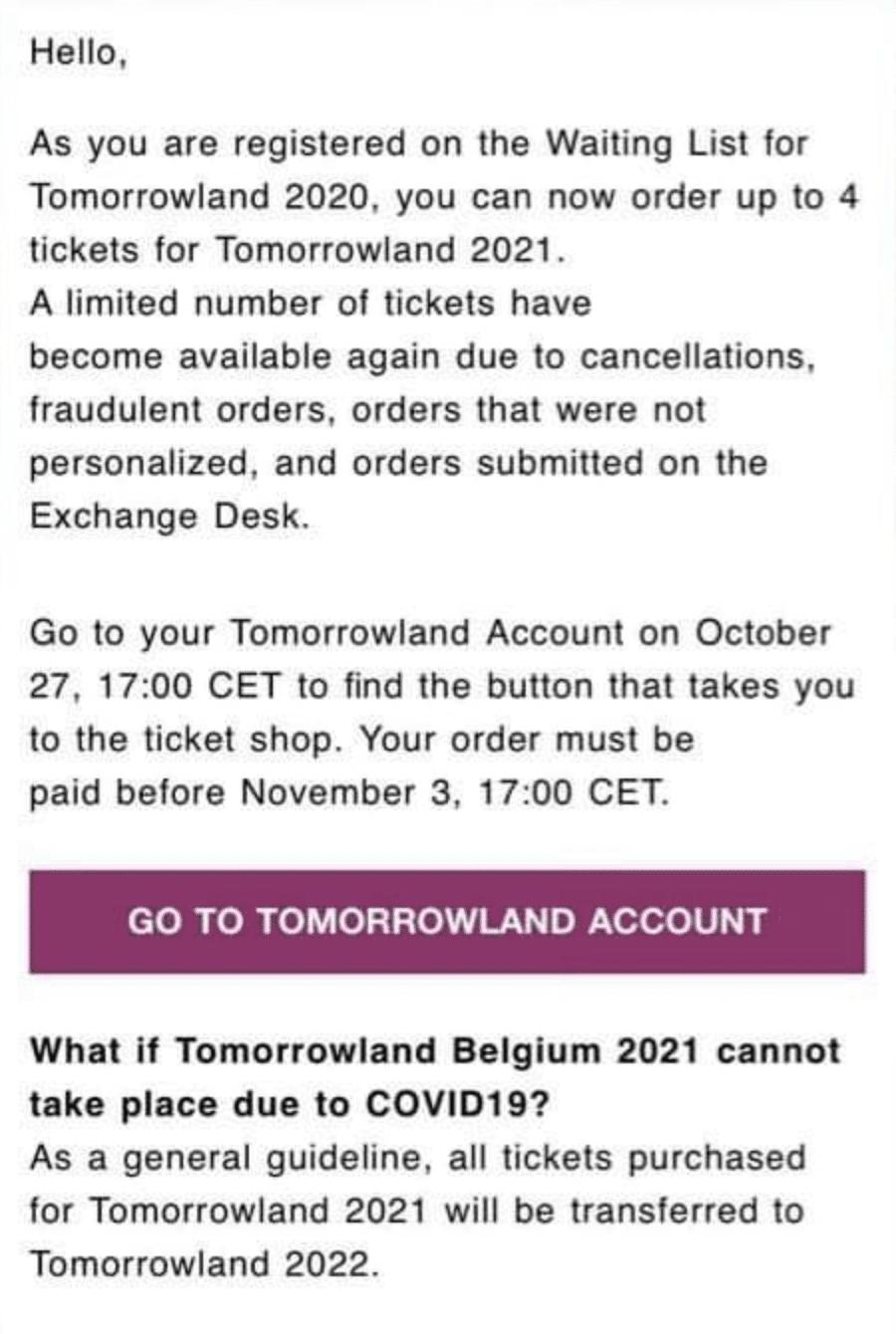 Capture d'écran du mail de tomorrowland