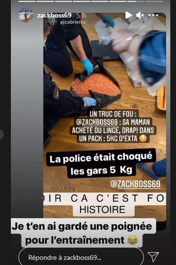 Capture d'écran Story sur Instagram des 5 kg d'ecstasy découverts dans un colis de linge commandé sur internet ©Zackboss69_