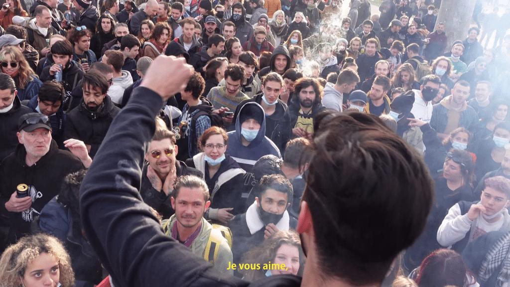 Photo de la manifestation des soundsystems à Montpellier