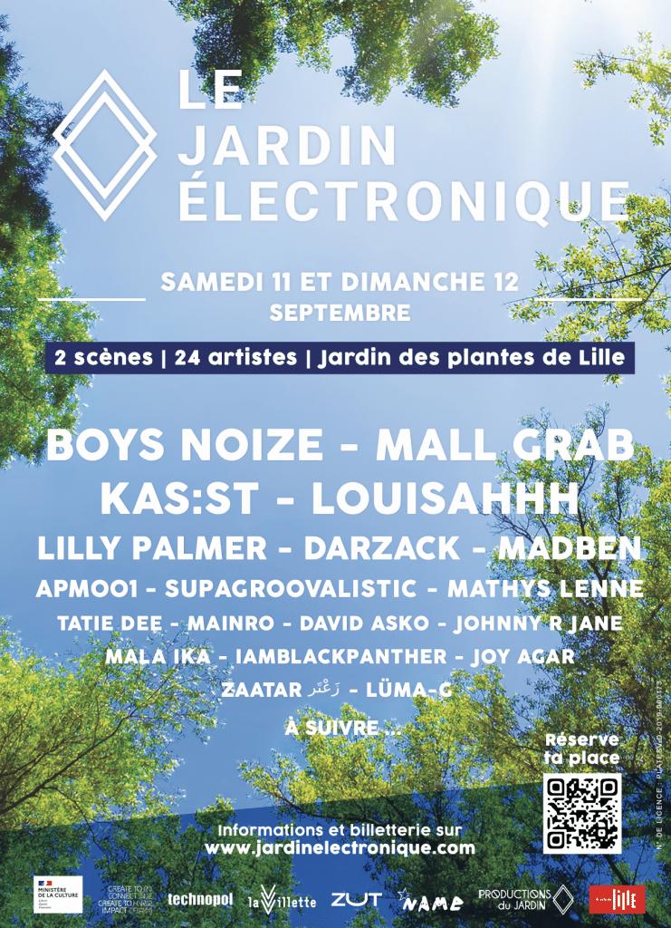 Affiche de la line up du Jardin Électronique 2021