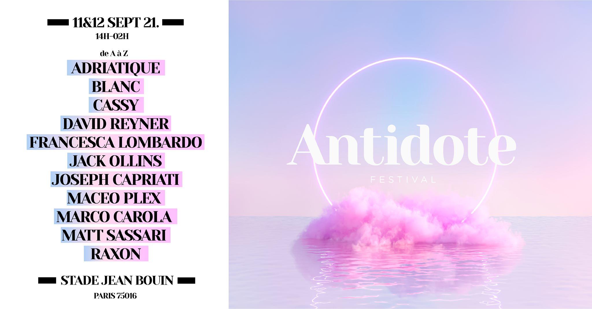 Affiche de l'Antidote festival 2021