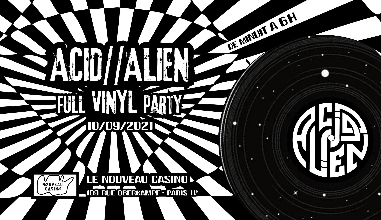 Flyer de la Acid Alien party au Nouveau Casino
