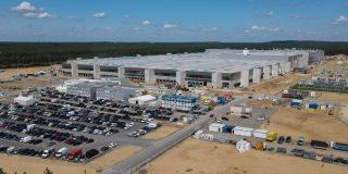 L'usine Tesla Giga Factory à Berlin en juillet 2021. Crédit : dpa